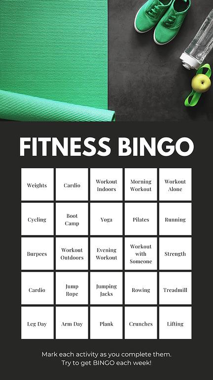 Weekly Fitness Bingo Card
